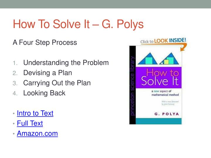 How To Solve It – G. Polys