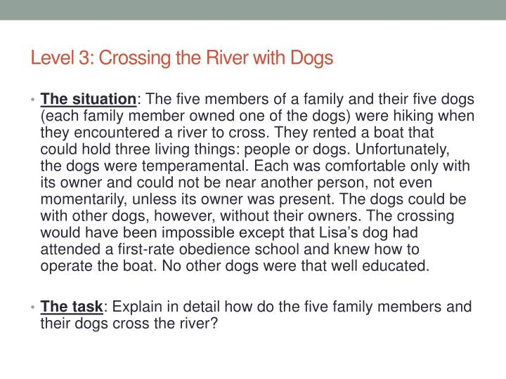 Level 3: Crossing the River with Dogs