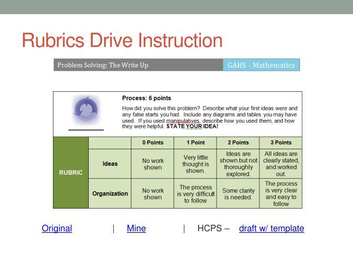 Rubrics Drive Instruction