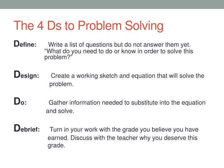 The 4 Ds to Problem Solving