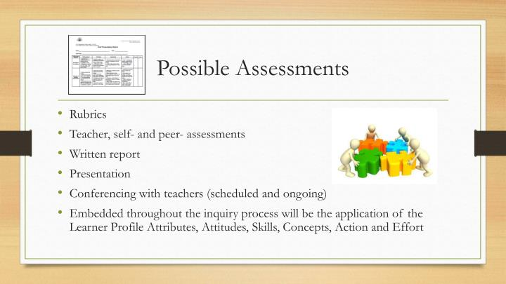 Possible Assessments