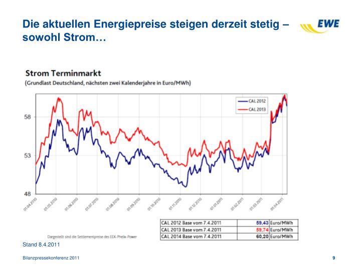 Die aktuellen Energiepreise steigen derzeit stetig – sowohl Strom…