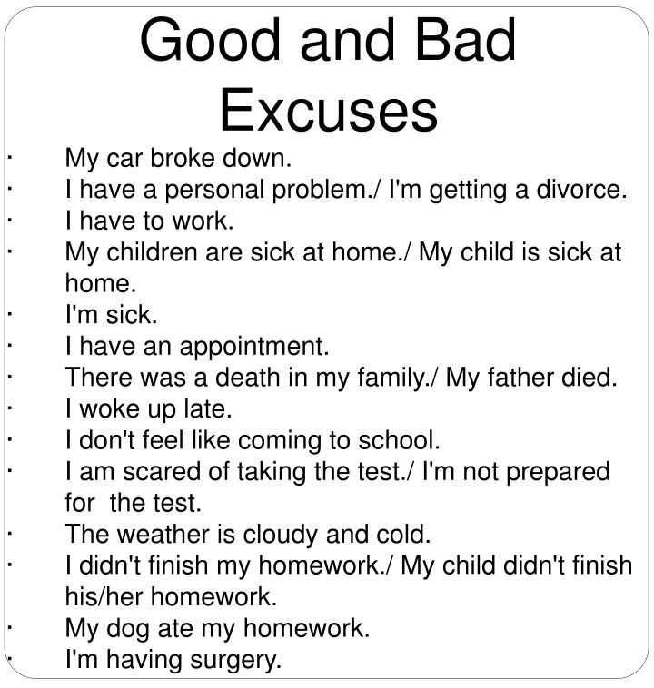 Good and Bad Excuses