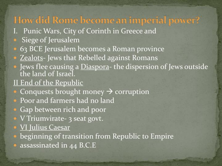 How did Rome become an imperial power?