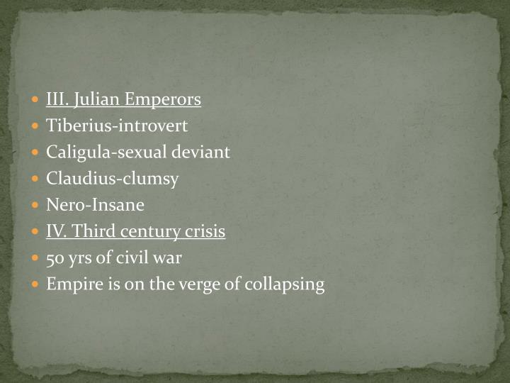 III. Julian Emperors