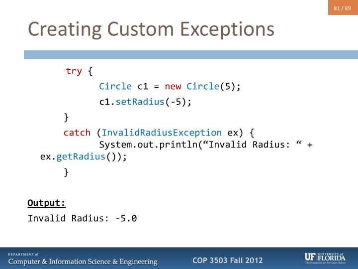Creating Custom Exceptions
