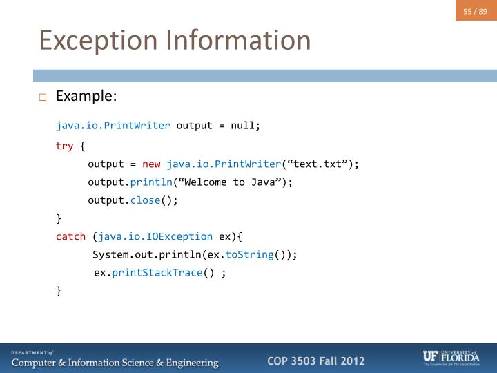 Exception Information