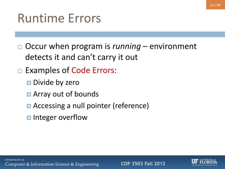 Runtime Errors