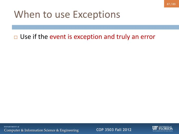 When to use Exceptions