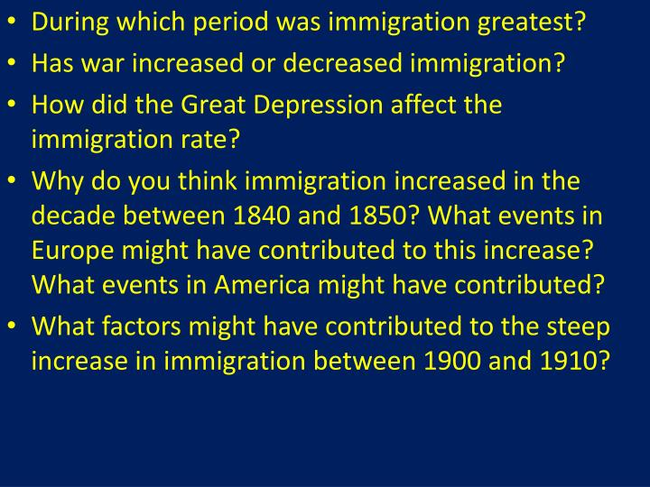 During which period was immigration greatest?