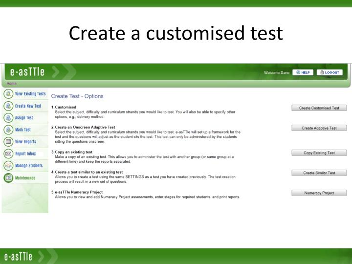 Create a customised test