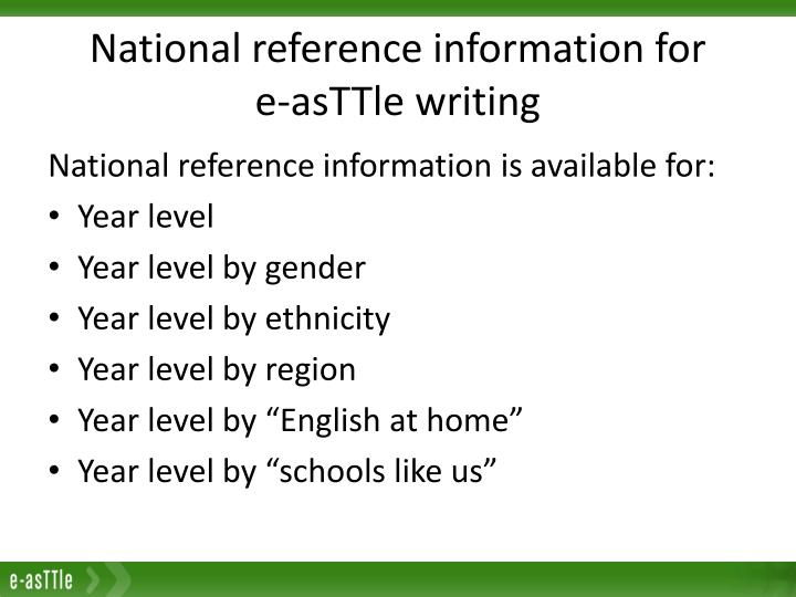 National reference information for     e-