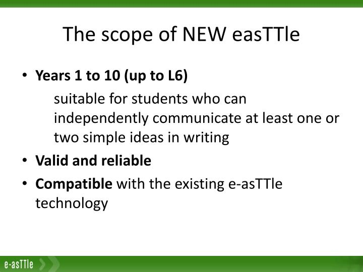 The scope of new easttle