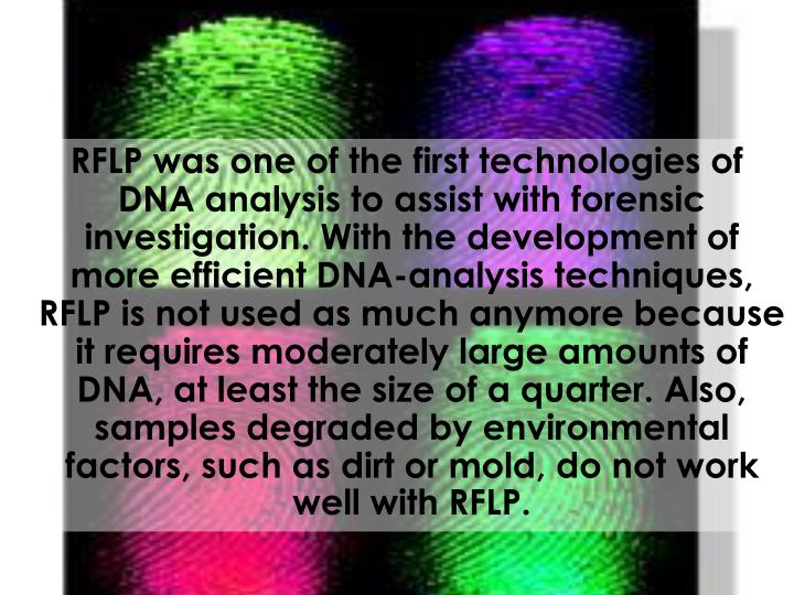 RFLP was one of the first technologies of DNA analysis to assist with forensic investigation. With the development of more efficient DNA-analysis techniques, RFLP is not used as much anymore because it requires moderately large amounts of