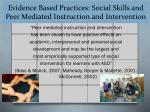 evidence based practices social skills and peer mediated instruction and intervention