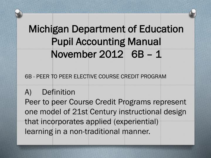 Michigan Department of Education Pupil Accounting Manual