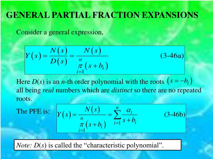GENERAL PARTIAL FRACTION EXPANSIONS