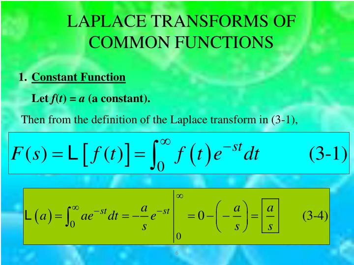 LAPLACE TRANSFORMS OF COMMON FUNCTIONS
