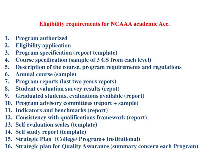 Eligibility requirements for NCAAA academic Acc.