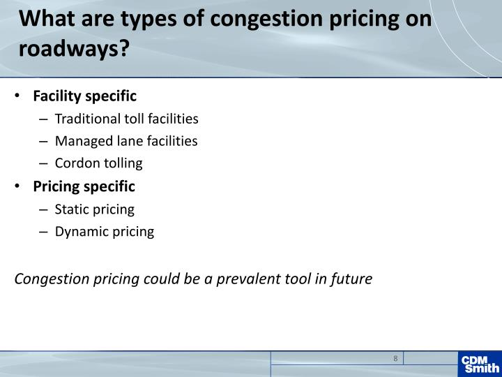 What are types of congestion pricing on roadways?