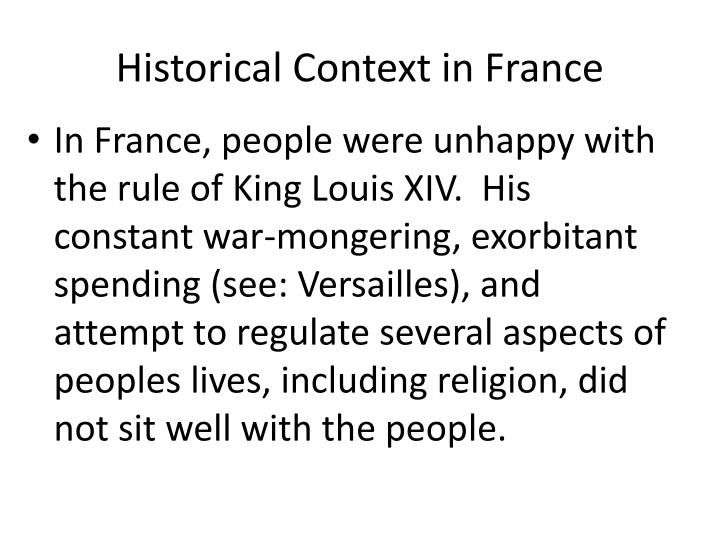 Historical Context in France
