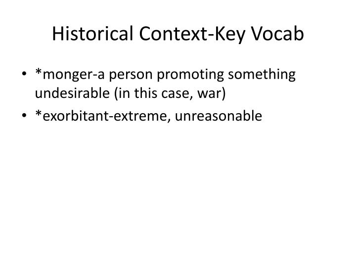 Historical Context-Key Vocab