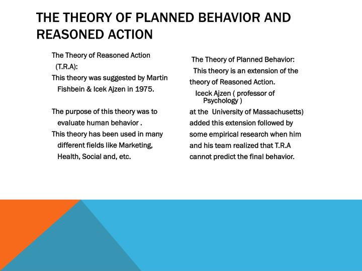 theory of planned behavior Start studying the theory of planned behavior learn vocabulary, terms, and more with flashcards, games, and other study tools.