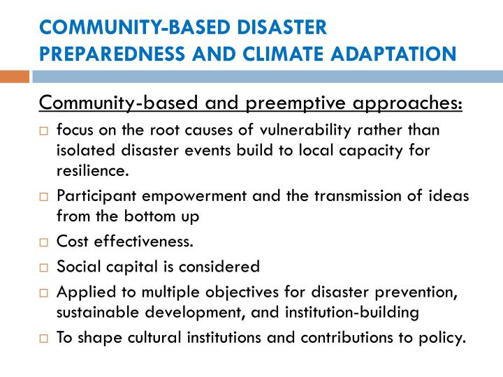 COMMUNITY-BASED DISASTER PREPAREDNESS AND CLIMATE ADAPTATION