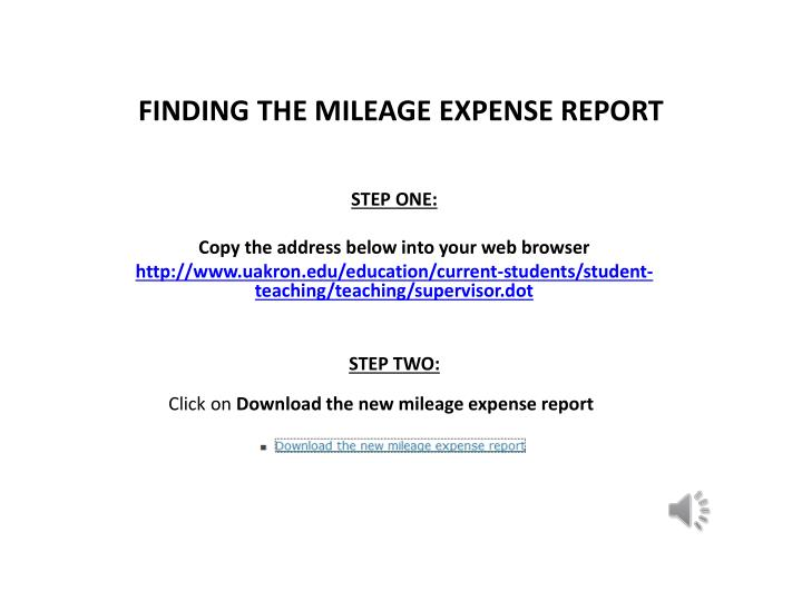 Finding the mileage expense report