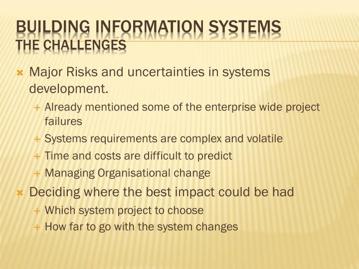 Major Risks and uncertainties in systems development.