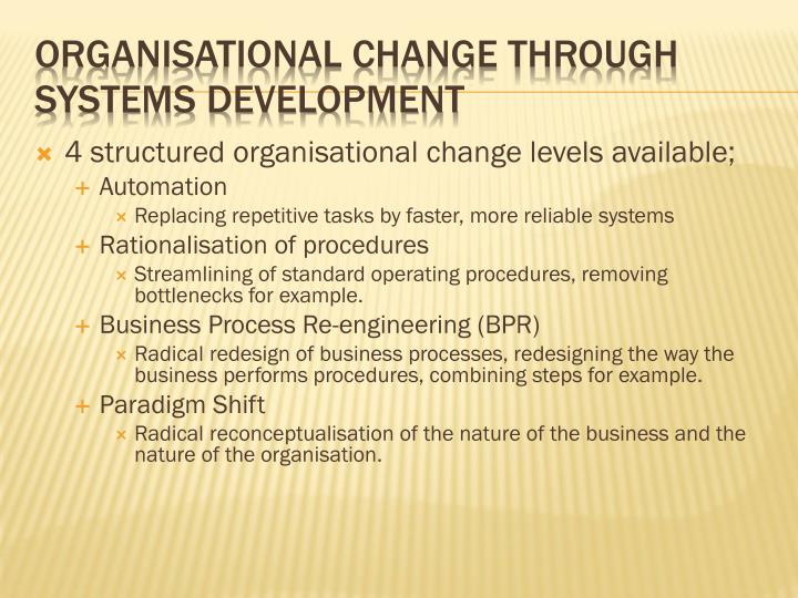 4 structured organisational change levels available;