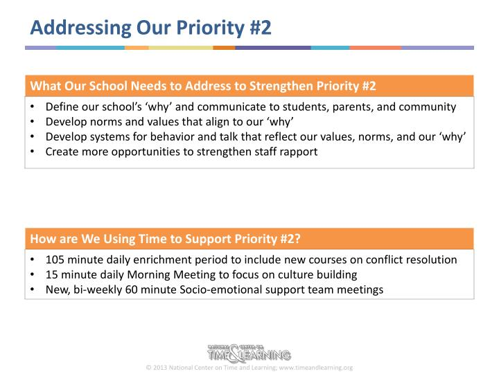 Addressing Our Priority #2