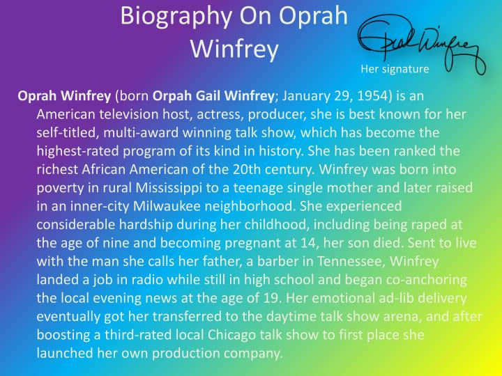 Biography On Oprah Winfrey