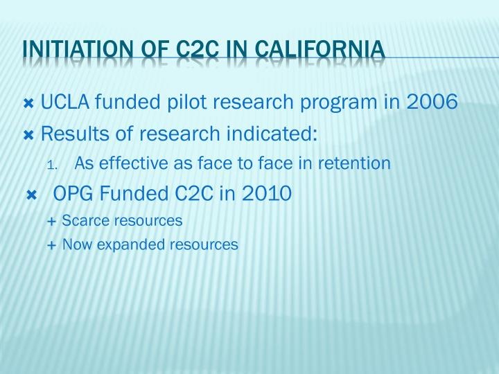 UCLA funded pilot research program in 2006