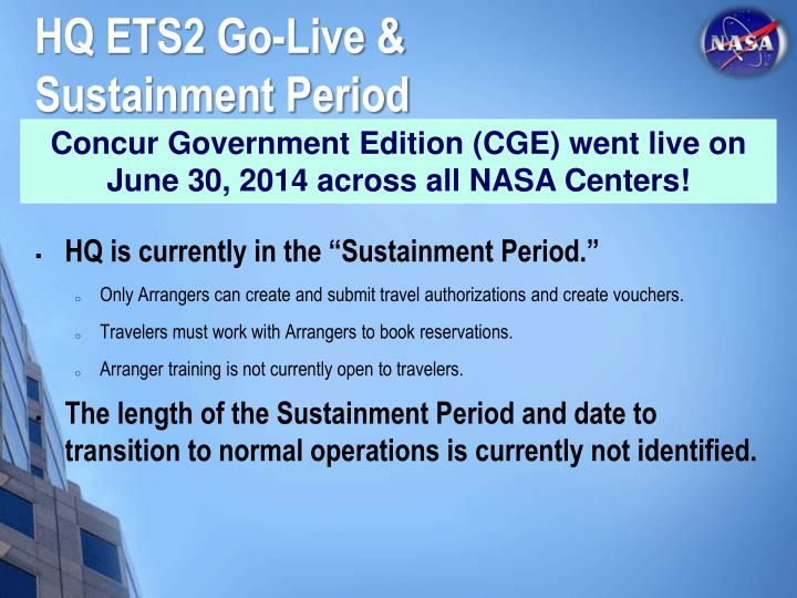 HQ ETS2 Go-Live & Sustainment Period