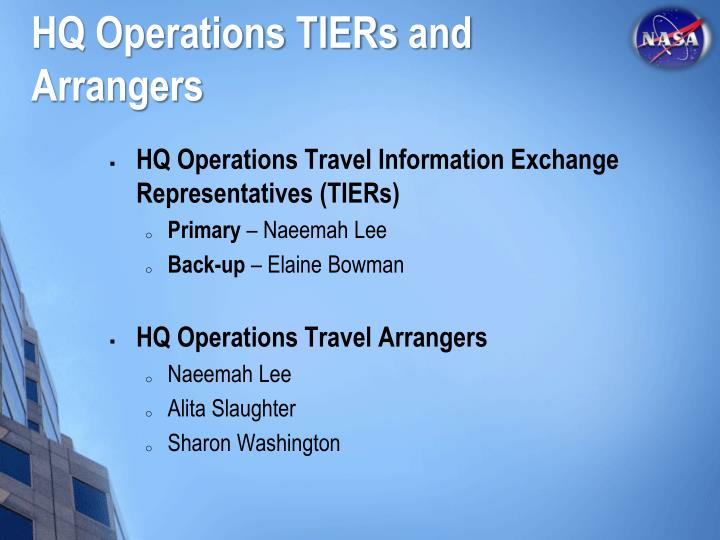 HQ Operations TIERs
