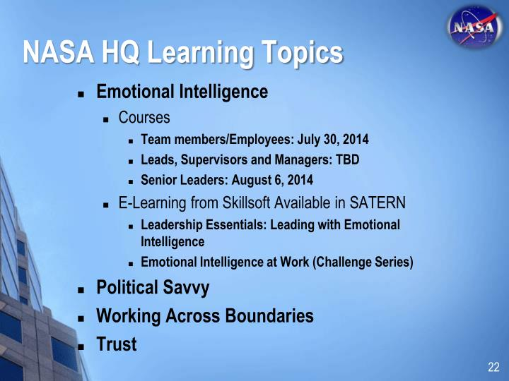 NASA HQ Learning Topics