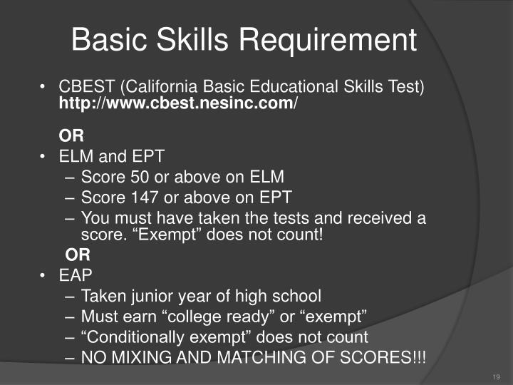 Basic Skills Requirement