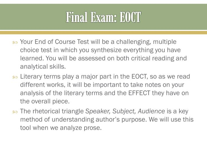 Final Exam: EOCT