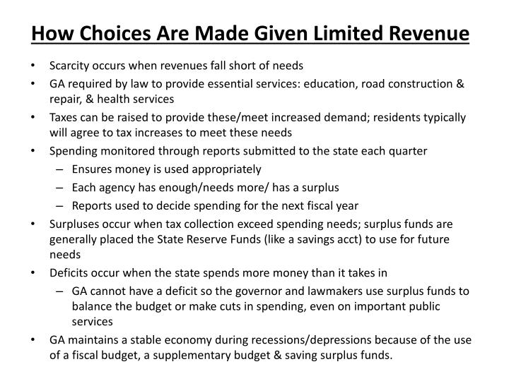 How Choices Are Made Given Limited Revenue