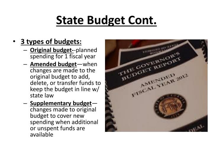 State Budget Cont.