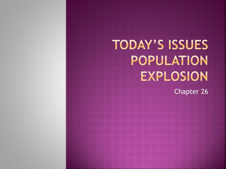 Today s issues population explosion