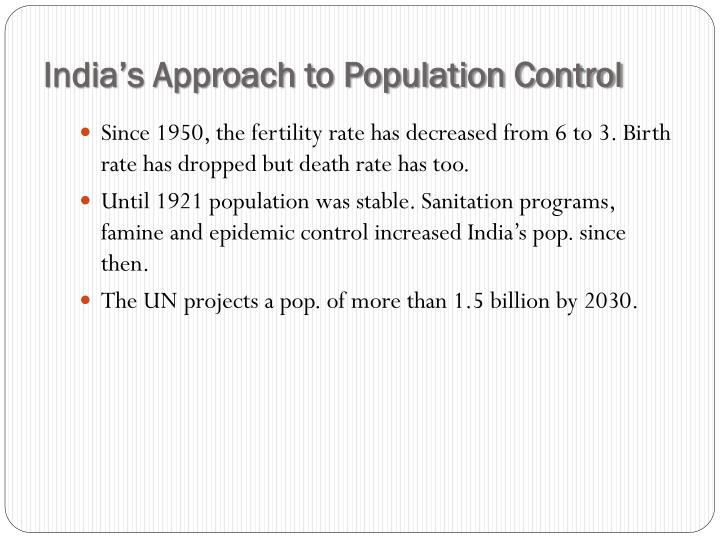 India's Approach to Population Control