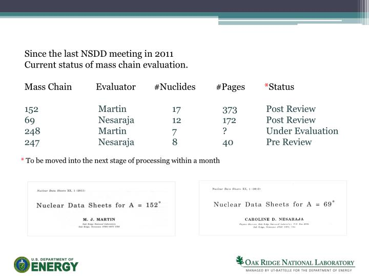Since the last NSDD meeting in 2011