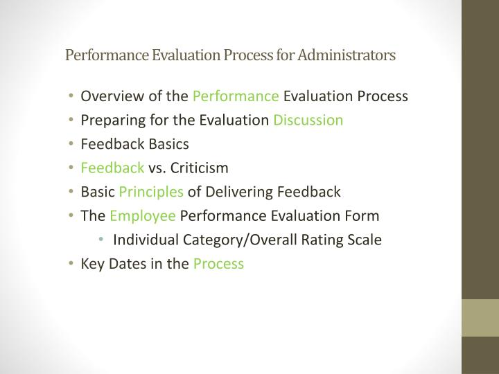 Performance Evaluation Process for Administrators