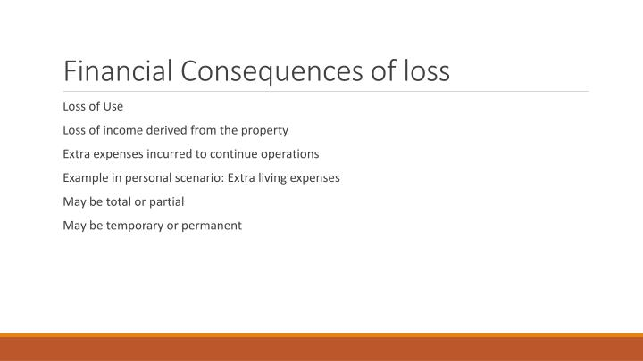 Financial Consequences of loss