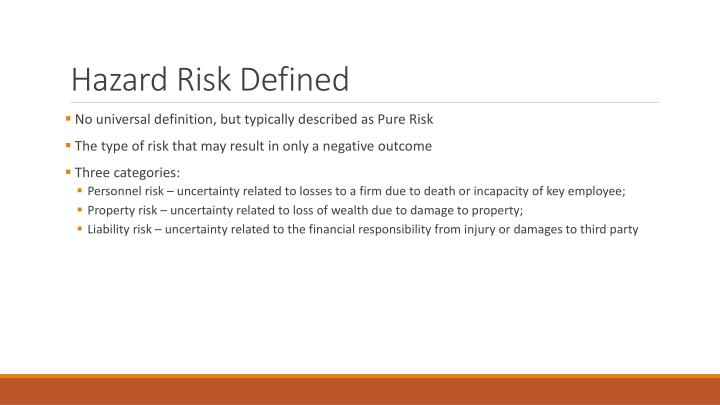 Hazard Risk Defined