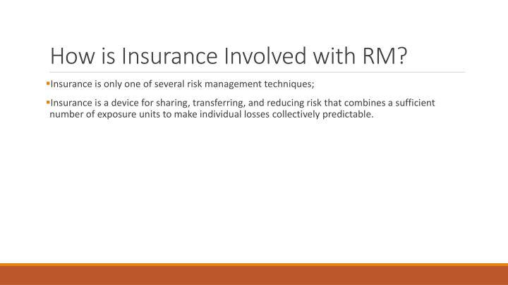 How is Insurance Involved with RM?
