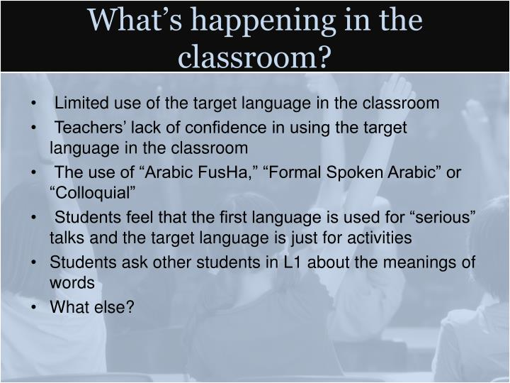 What's happening in the classroom?