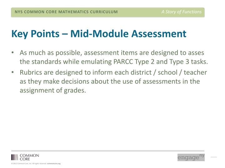 Key Points – Mid-Module Assessment